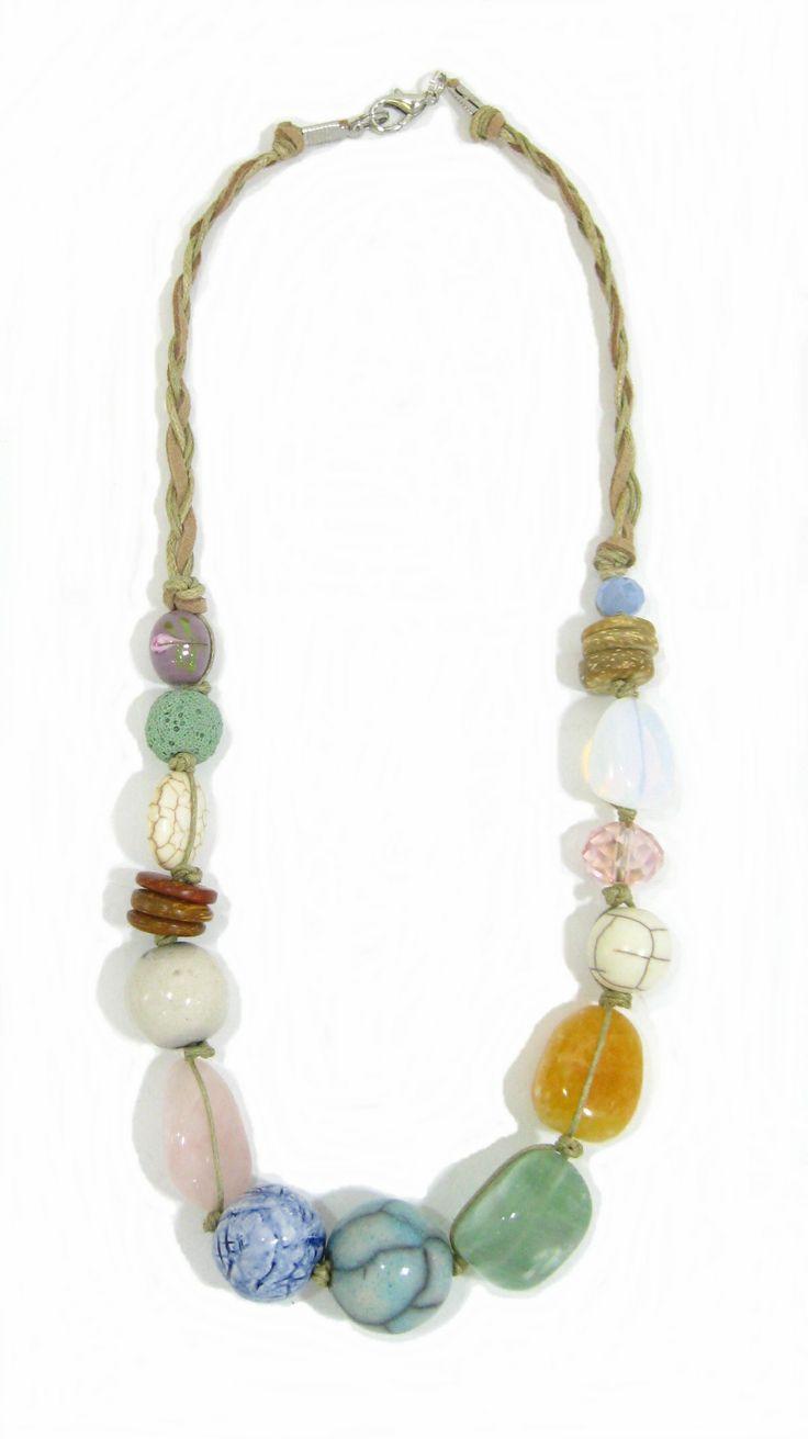Pastel and Ceramic Stone on Cord.  Semi-precious and handmade ceramic beads. www.marzipan.co.za