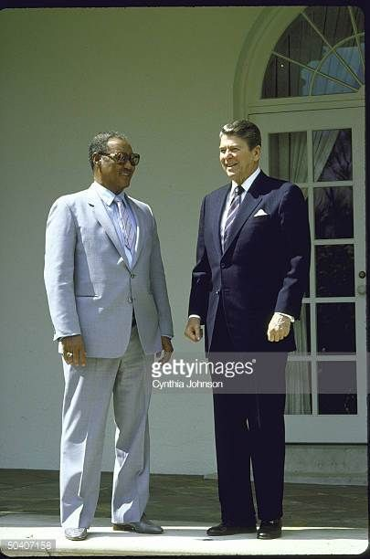 Former President Gafar al-Nimieri of Sudan, in White House with Prez Reagan (Nov 1983)