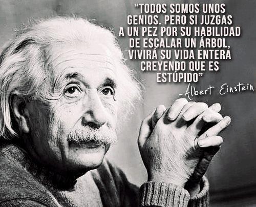 Cita Albert Einstein - Trabaja sobre tus fortalezas y deja de lado tus debilidades. Será tu clave de éxito.