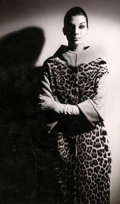 Maggi Tabberer wearing an Ocelot coat photo Henry Talbot, Melbourne, Australia 1961