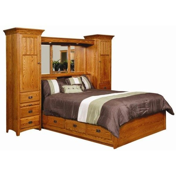 Amish monterey pier wall bed unit with platform storage for Headboard storage unit