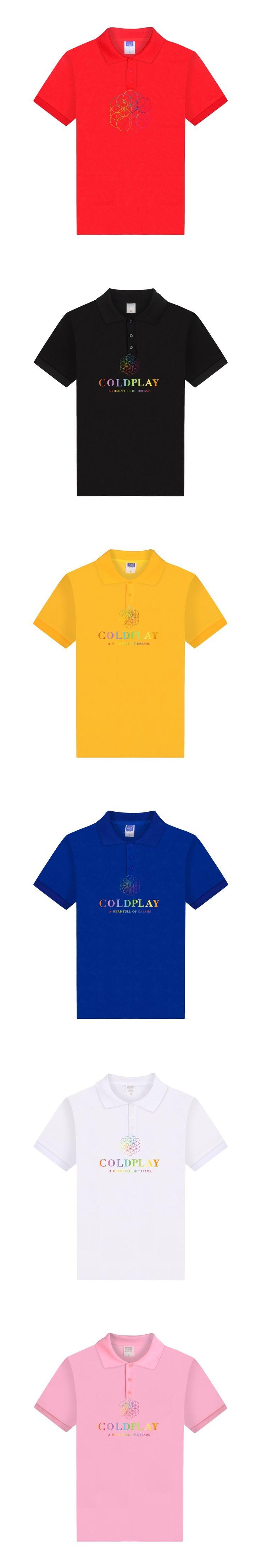 ALIZAZA Coldplay Polo Shirt Men Short Sleeve World Tour Dates 2017 Black White Polo Brand Metal Rock Tee Hip Hop Male Clothing