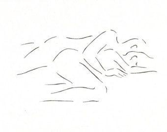 Minimalist kiss drawing. Original line art illustration. by siret