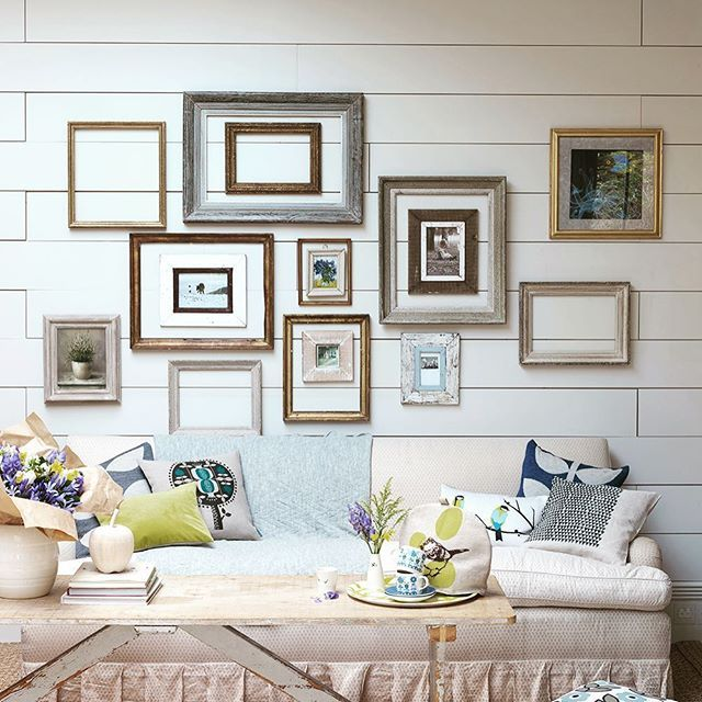 New Year, Time for a fresh look #countryhomesandinteriors #photo #picture #frames #interiors #framing #photography #stylish #interiors #white #panel #wall #creamsofa #collage