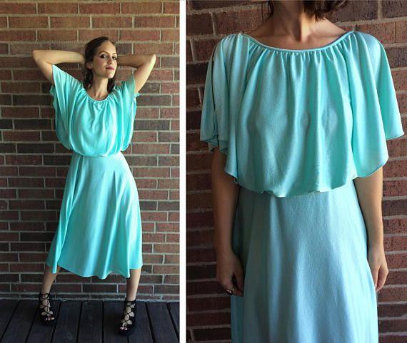 vtg 70s Mint Green GRECIAN GODDESS draped DRESS Small cut out