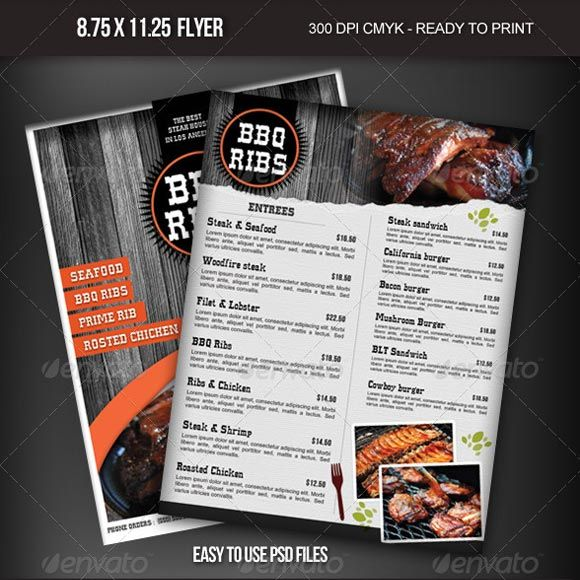 Best Pub Images On   Food Menu Template Page Layout