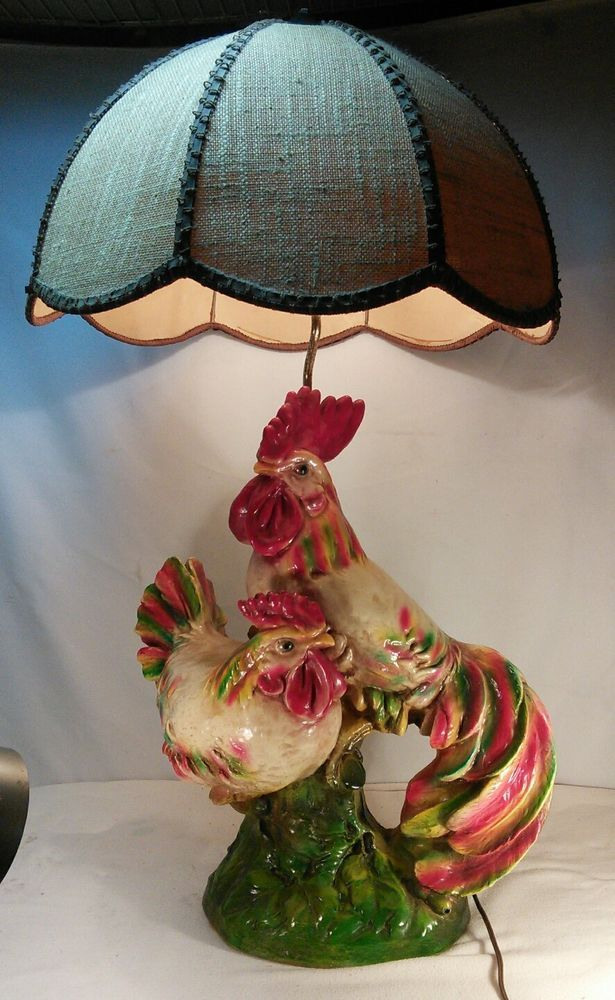 Vtg Rare 1972 Pieri Chalkware Rooster Chicken Hen Table Lamp Country Farm Decor Farm Decor Country Farm Lamp
