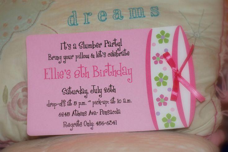 10 Sleepover birthday party invitation or Slumber party birthday invitations. $20.00, via Etsy.