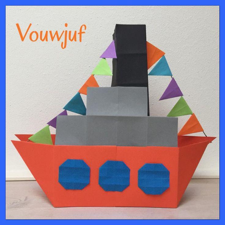 Stoomboot vouwen 3D - 16 vierkantjes www.vouwjuf.nl