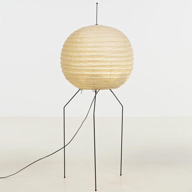 isamu noguchi; metal, washi paper and bamboo akari floor lamp, c1951.