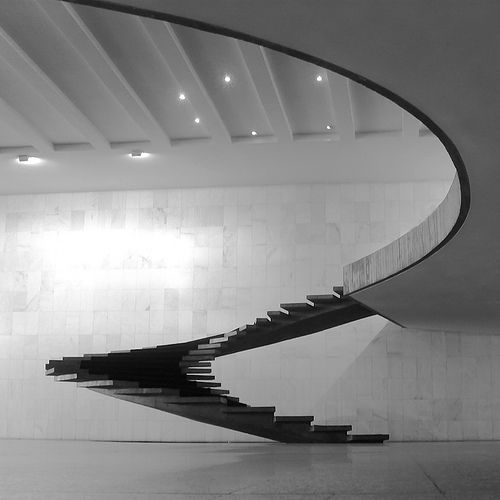 (Creation by Oscar Niemeyer Brasilia) Imagine gliding down this staircase in a red ball gown ...
