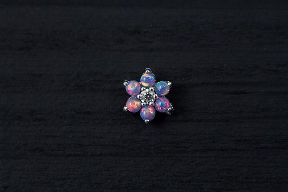 Purple Opal gems flower bio flexible labret / by PiercingRoomByJay