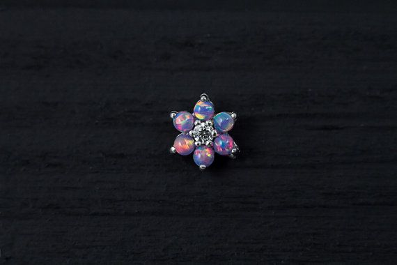 Purple Opal gems flower bio flexible labret / by PiercingRoomByJay