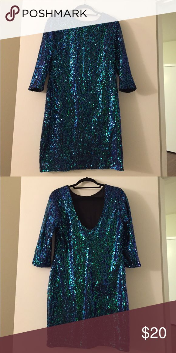 Blue green sequence dress Blue green sequence dress perfect for a party! Wore this once for new year's eve. H&M Dresses Mini