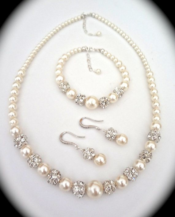 Bridal Jewelry  Pearl set  Sterling Silver  by QueenMeJewelryLLC