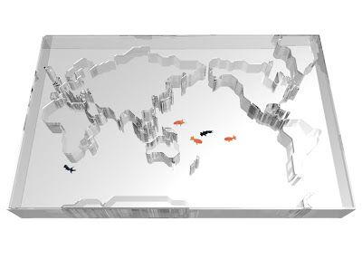 world map fishbowl by Takuro Yamamoto