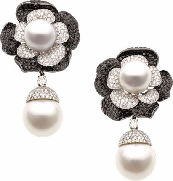 Diamond, Colored Diamond, South Sea Cultured Pearl, White Gold Earrings