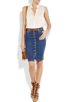 Button Down Denim Pencil Skirt - Redskirtz