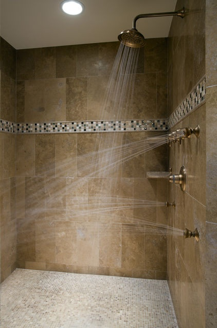 Body jets should never face the shower entry or door. When placing jets, consider how the spray will bounce off bodies and where it will land.    Tip: Jets should be sized to the user's body and installed to hit shoulders and other areas needing a massage. Consider installing them from both sides for a full-body soak!