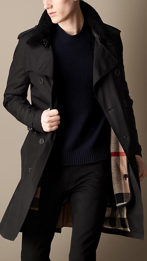 Mid-Length Shearling Collar Canvas Trench Coat | Burberry