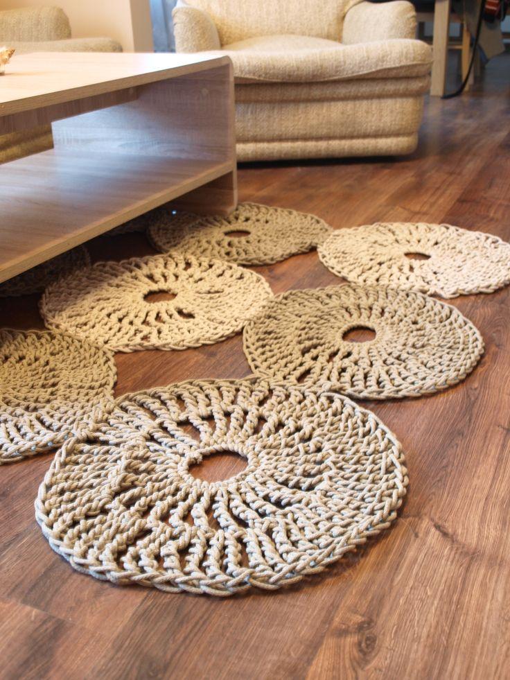 Ręcznie wykonany dywan z bawełnianego sznurka