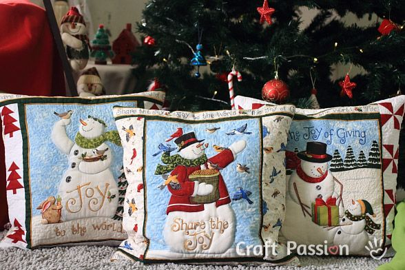 Sewing: Snowman Quilted Pillow Cover