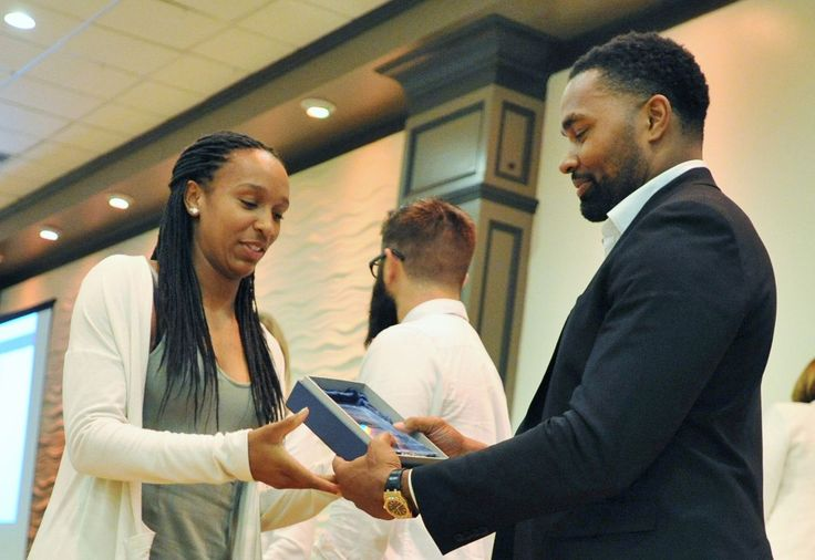 Alexis Daly of Milton High School receives her Athlete of the Year Award for track from former New England Patriots linebacker Jerod Mayo during the Patriot Ledger All-Scholastic Awards at Lombardo's, Randolph, Tuesday, July 11, 2017. Tom Gorman/For The Patriot Ledger