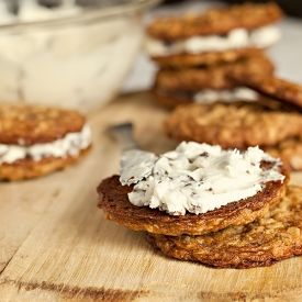 Oatmeal Cookie Sandwiches with Rum Raisin Filling.