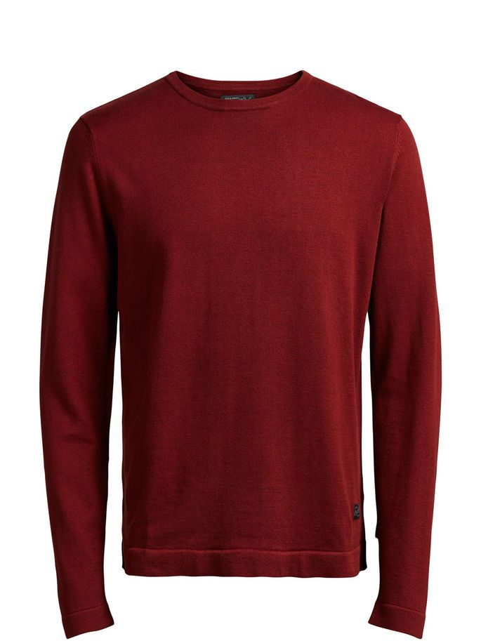 Classic knitted red pullover, regular fit, in cotton | JACK & JONES Valentine's day gift idea