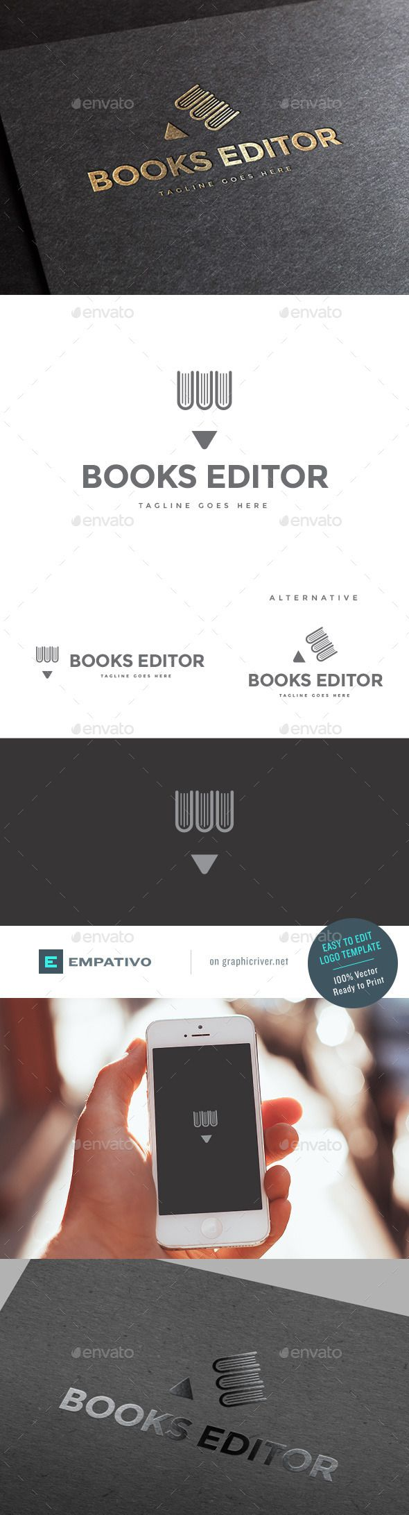 Book Publisher Logo Template - Objects Logo Templates  #RePin by AT Social Media Marketing - Pinterest Marketing Specialists ATSocialMedia.co.uk
