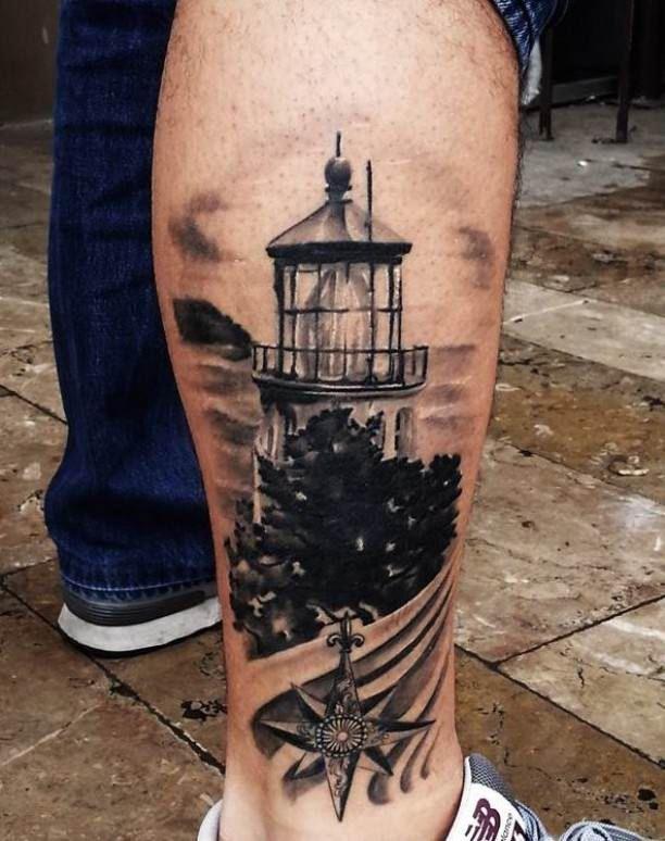 3d Lighthouse Tattoo On Calf Tattoo Tattooed Tattoos Calf Tattoos Pinterest Calf