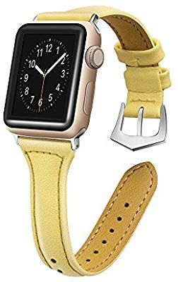 cedae44b0a6 Amazon.com  Ginamart Genuine Leather Bands for Apple Watch Band 38mm 42mm Slim  Replacement