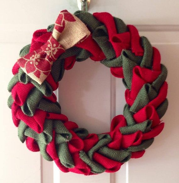 Red and Green Burlap Christmas Wreath with by FunkyFreshCrafts