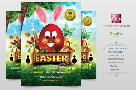 Easter Party Flyer | Poster by Minkki on @creativemarket #easter #hunt