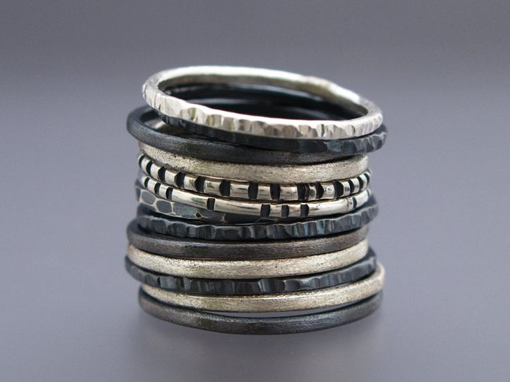Stacking Rings | Shirlee Grund.  Sterling and Oxidized sterling silver