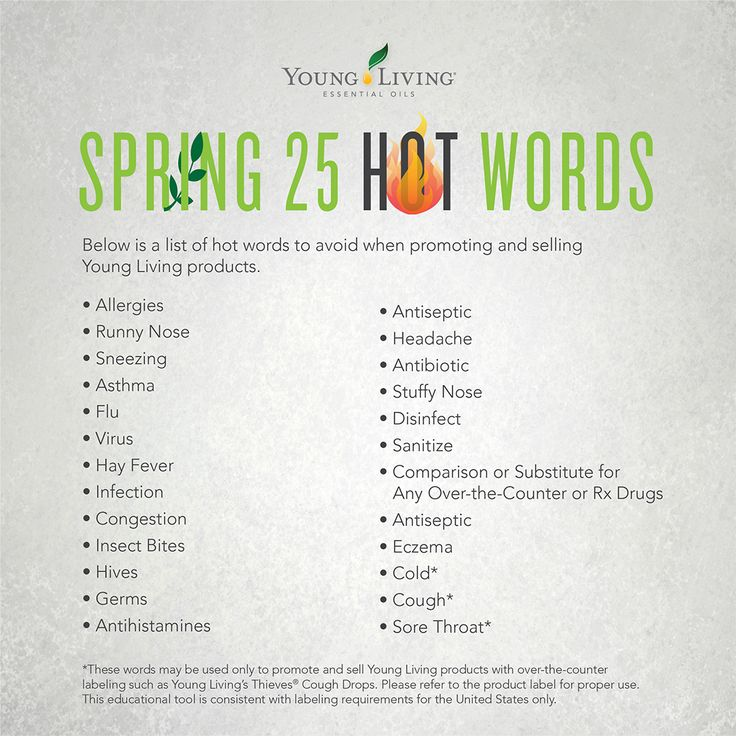Spring 25 Hot Words: A list of hot words to avoid when promoting and selling Young Living products.