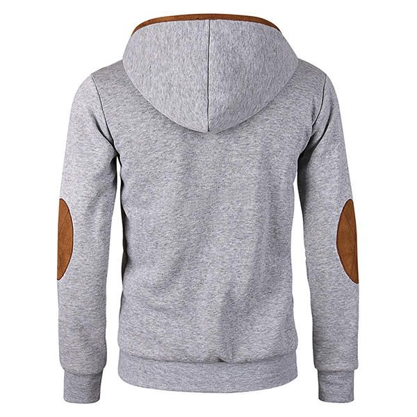 Men's Fashion Solid Color Hooded Sweater Casual Zipper Deerskin Stitching Sport Hoodies at Banggood