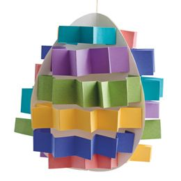 Pop Up Easter Egg: Made with strips of paper folded like an accordion. #Paper #Egg #Crafts