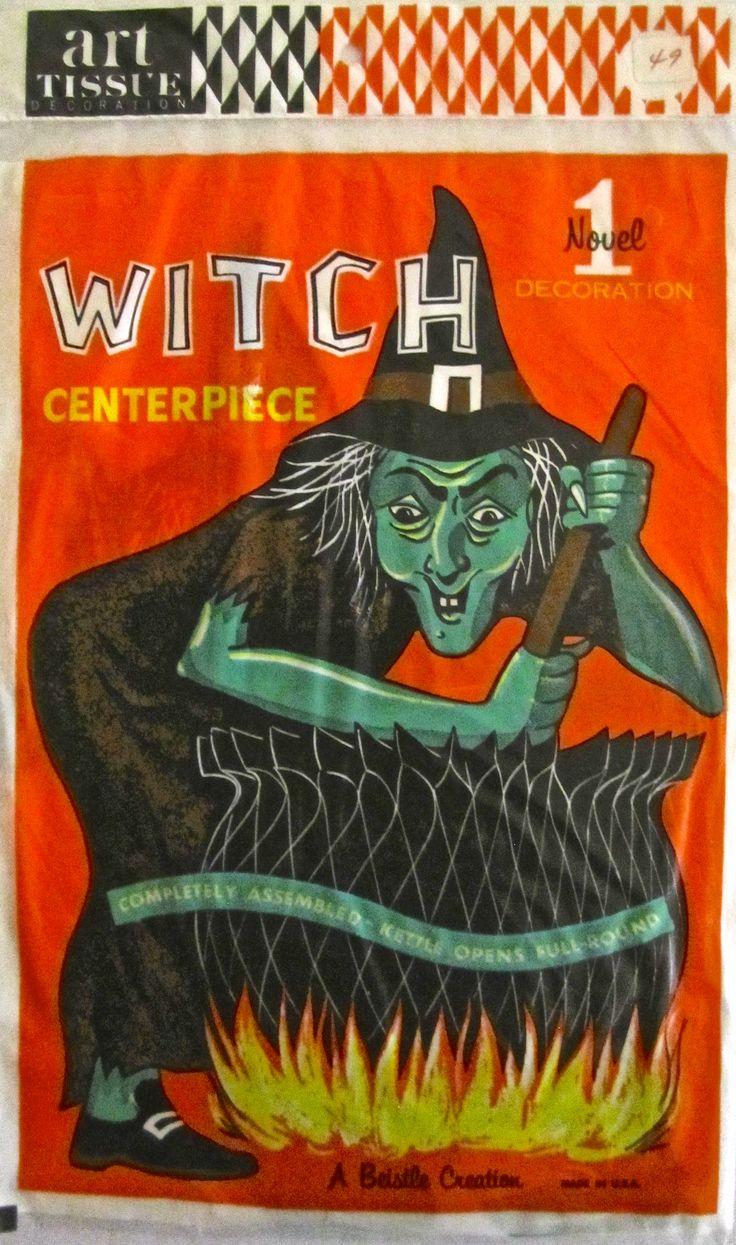 1960s halloween decorations - Vintage Halloween Beistle Art Tissue Witch Centerpiece Late 1960 S 1970 S
