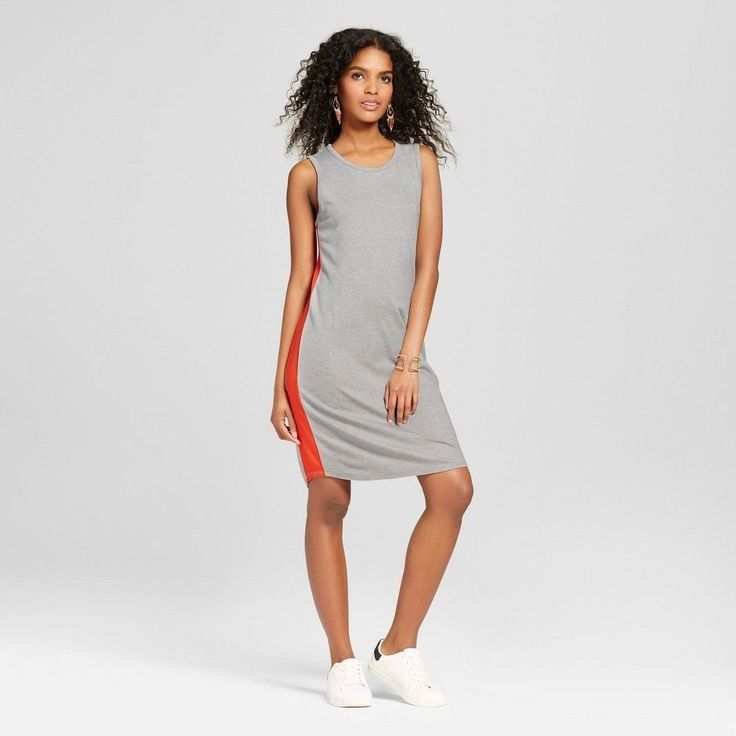 Women's Sporty Dress with Side Stripe Gray with Orange Stripe S - Mossimo