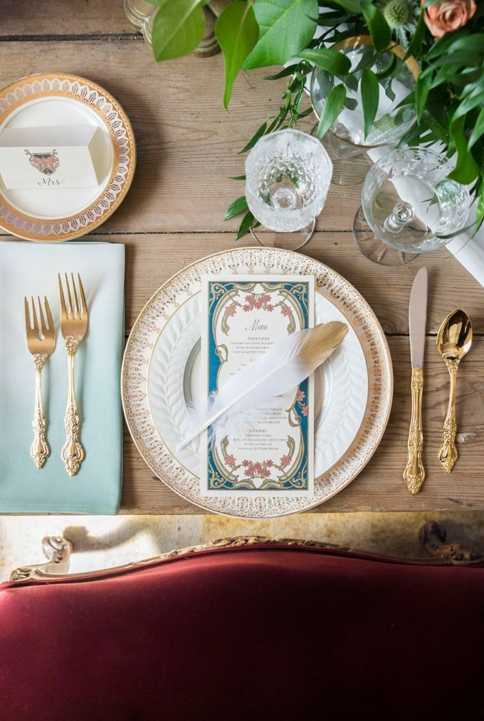 Put a gold-dipped feather on it. Art Nouveau wedding inspiration | Peterson Design & Photography | Glamour & Grace