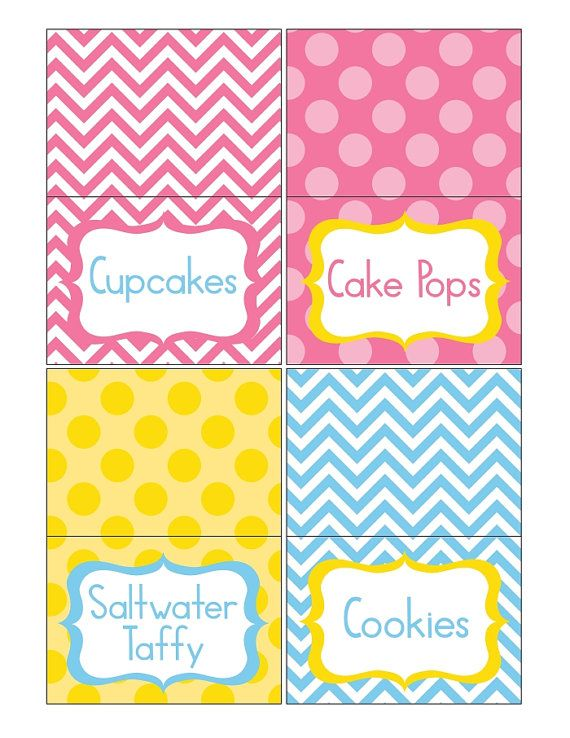 printable pink blue and yellow chevron party printable food labels