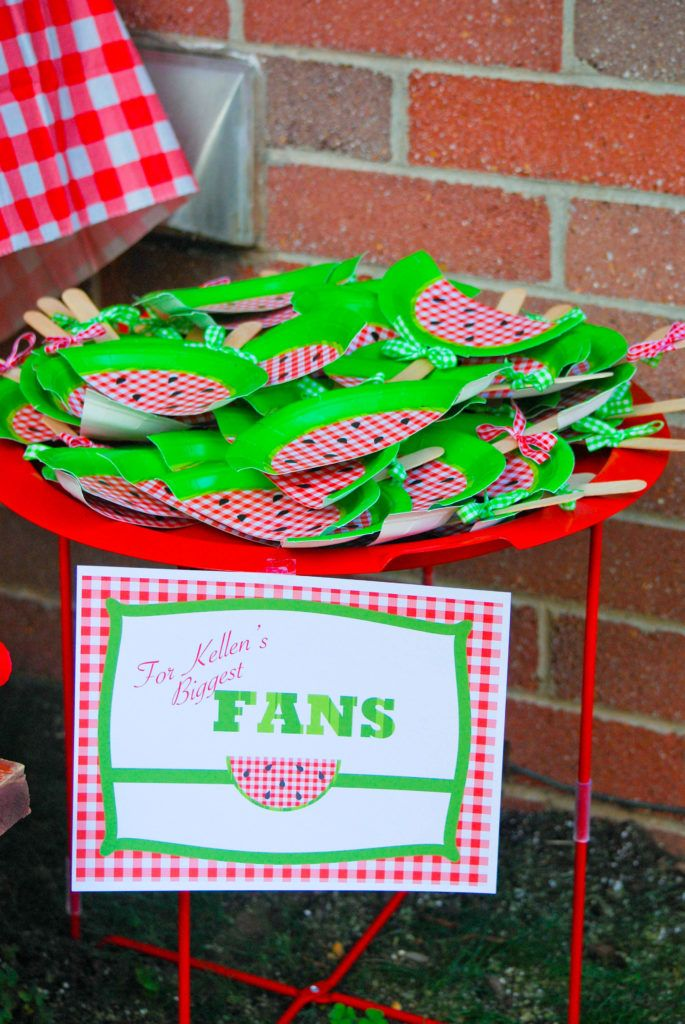 One in a Melon! Watermelon Picnic First Birthday Party Decoration. Watermelon Fans - Not So Perfect Parties.  Watermelon Invitation. First Birthday Party Theme. Summer Birthday Party.