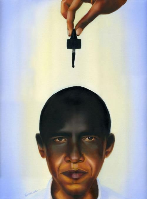 """""""One Drop"""" an oil painting. The artist is attempting to make a statement about the one drop rule: The one-drop rule is a historical colloquial term used in the United States as a social classification for an individual with any Black ancestry. Meaning any person with """"one drop of African blood"""" was to be considered ONLY as black, and in the historical context of slavery, it really meant they were to be viewed as less than human because of it."""