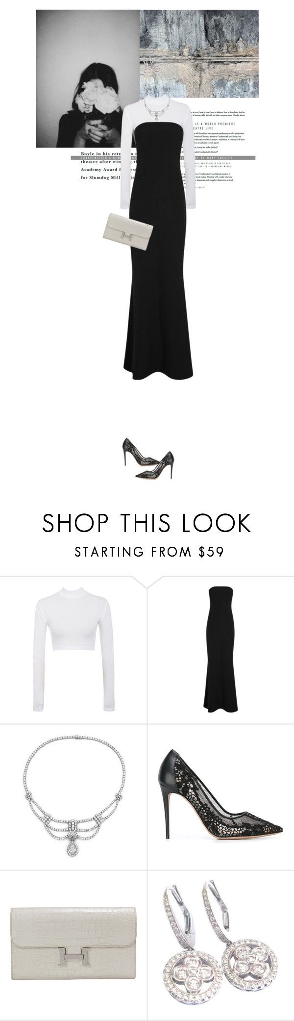 """Untitled #1746"" by the2ndchild ❤ liked on Polyvore featuring WALL, Safiyaa, Blue Nile, Valentino, Hermès and Louis Vuitton"