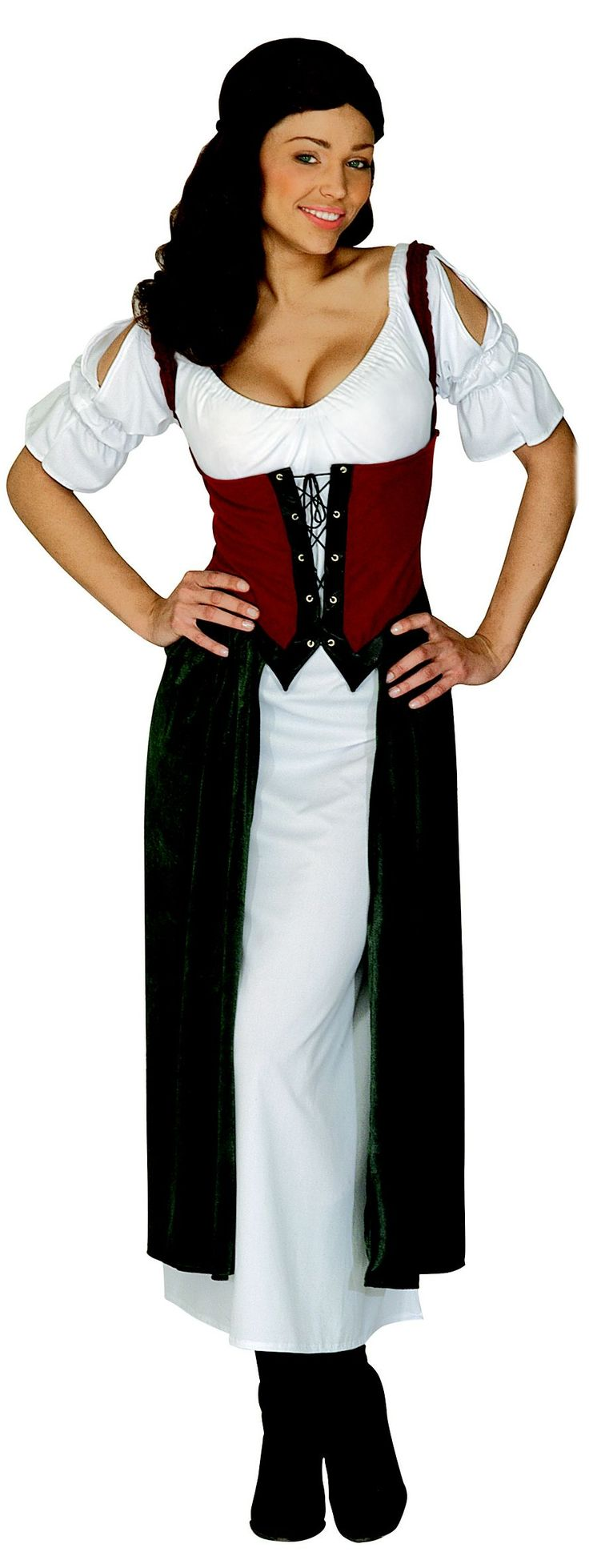 Disfraz de Lucrecia para mujer: Este disfraz de campesina se compone de un vestido. (Zapatos no incluidos). Este traje de campesina te convertirá en la representante más fiel del mundo rural en tus fiestas de...