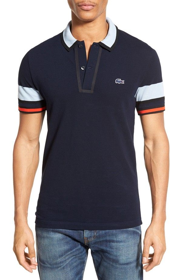 Lacoste Stripe Sleeve Piqué Cotton Polo | Nordstrom