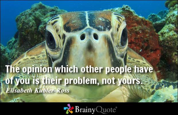 The opinion which other people have of you is their problem, not yours. - Elisabeth Kubler-Ross