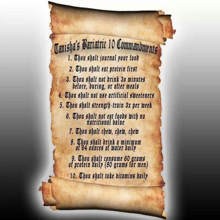 Bariatric 10 Commandments | Good to know | Pinterest ...