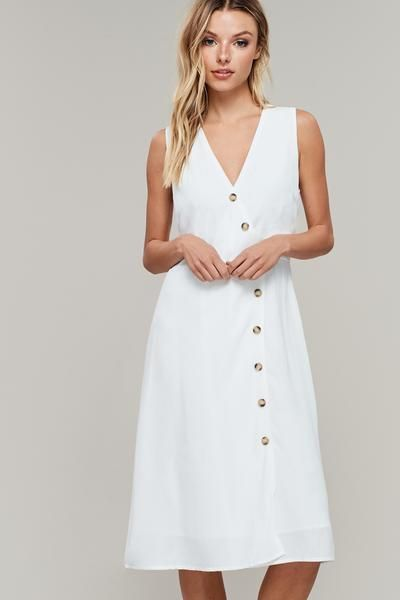 82f2b8bc7288 White Button Front Midi Dress - #whitebuttonupdress #whitemididress  #buttonupdresses #springdresses